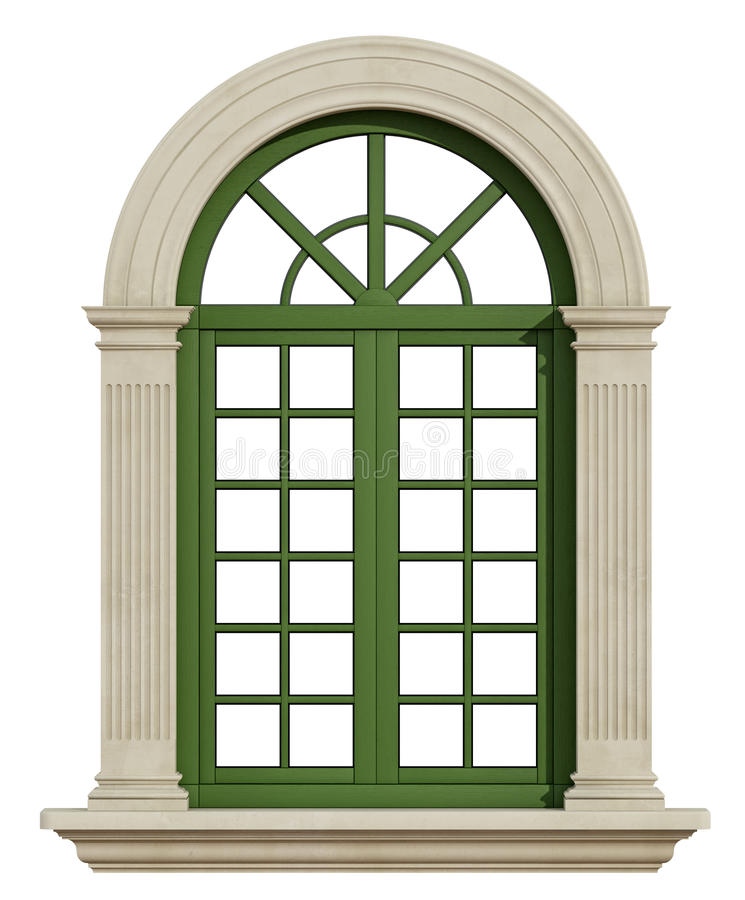 classic arch window with stone frame stock illustration