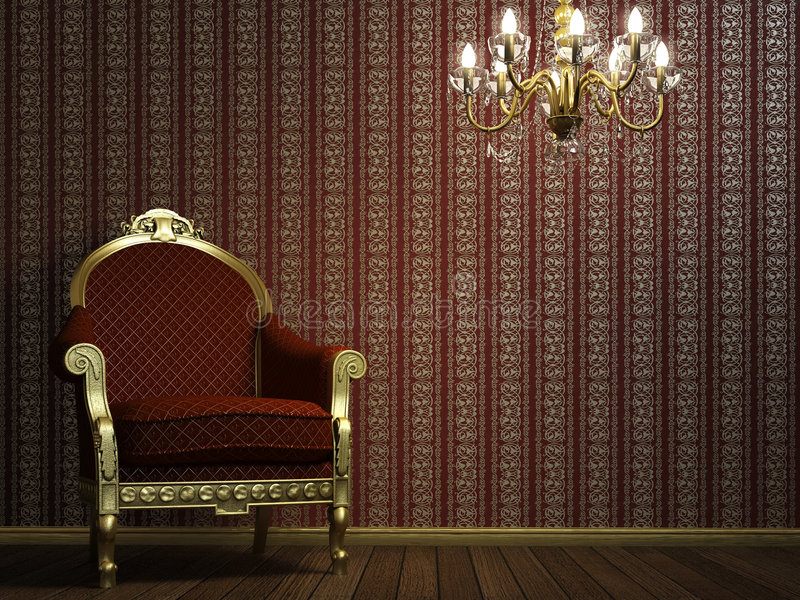 Classic armchair with lamp and golden details royalty free illustration