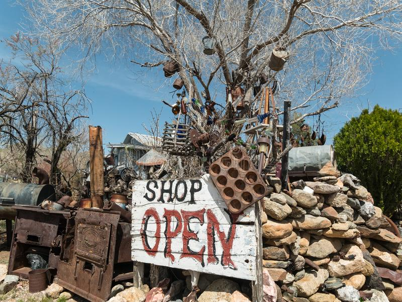Chloride antique shop is open. Classic artwork from recycled metal, yard art in Chloride, Arizona royalty free stock photography
