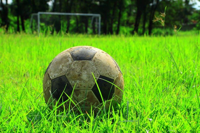 Classic ball football on grass royalty free stock photo