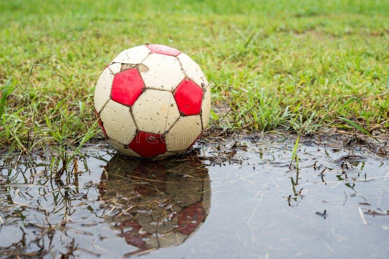 Classic ball football on grass. After rain royalty free stock photos