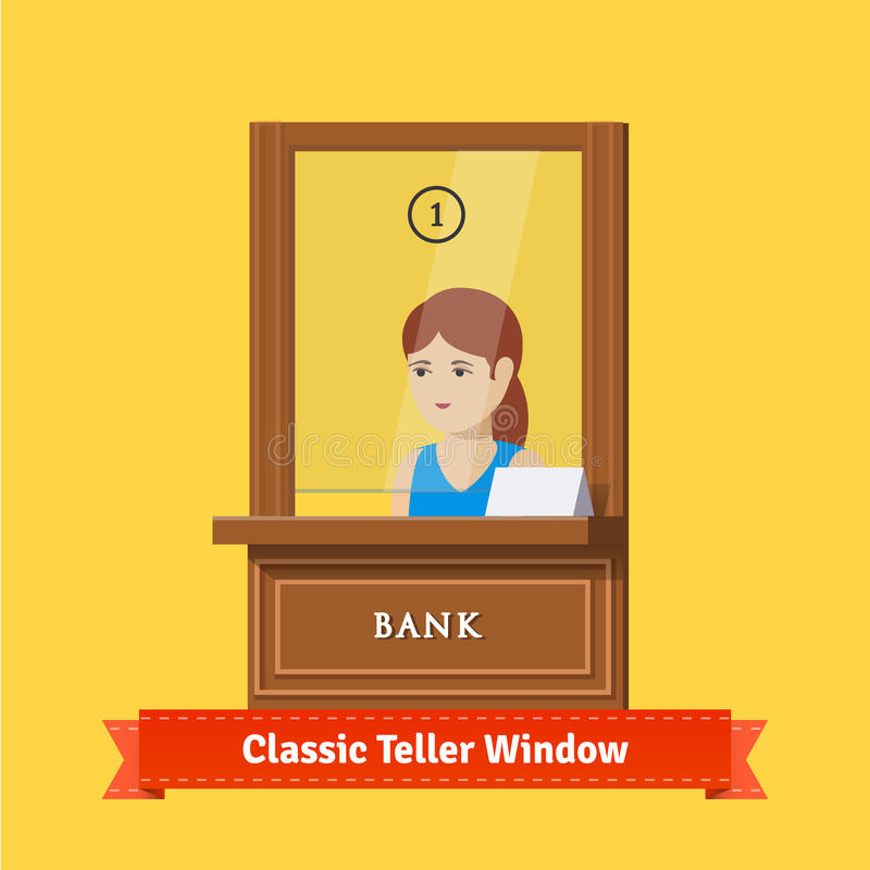 Classic bank teller window with a working clerk. Young woman cashier. Flat illustration. EPS 10 vector stock illustration