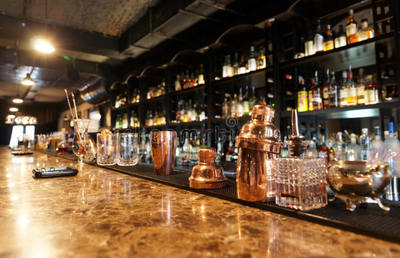 Classic bar counter stock photography