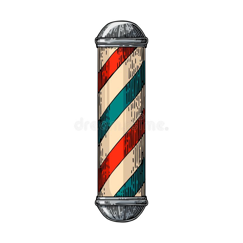 Classic barber shop Pole. Vector color vintage illustrations isolated on white backgrounds. Hand drawn engraving for poster, label, banner, web royalty free illustration