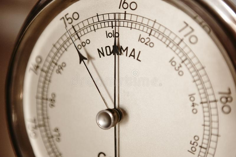 Classic barometer detail. Air pressure measure instrument. Weather information royalty free stock photos