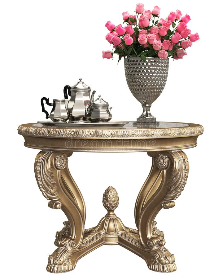 Classic baroque carved table with bouquet of roses and coffee silver set isolated on white background. Digital illustration.3d rendering vector illustration