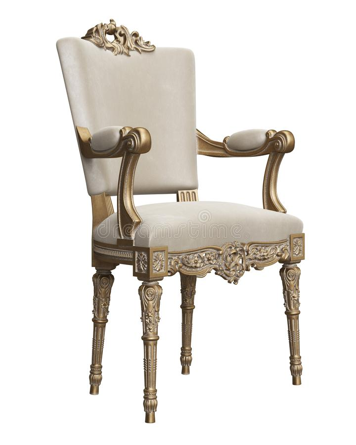 Classic baroque chair in gold and ivory colors isolated on white background. Digital illustration.3d rendering royalty free illustration