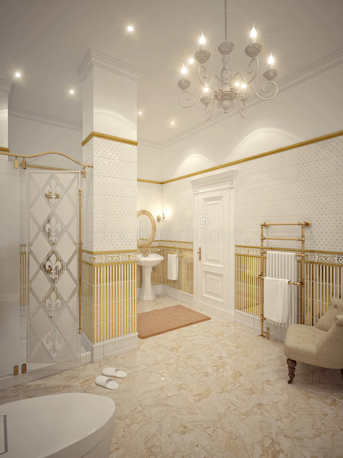 Classic bathroom interior design with gold and beige tiles and m royalty free illustration