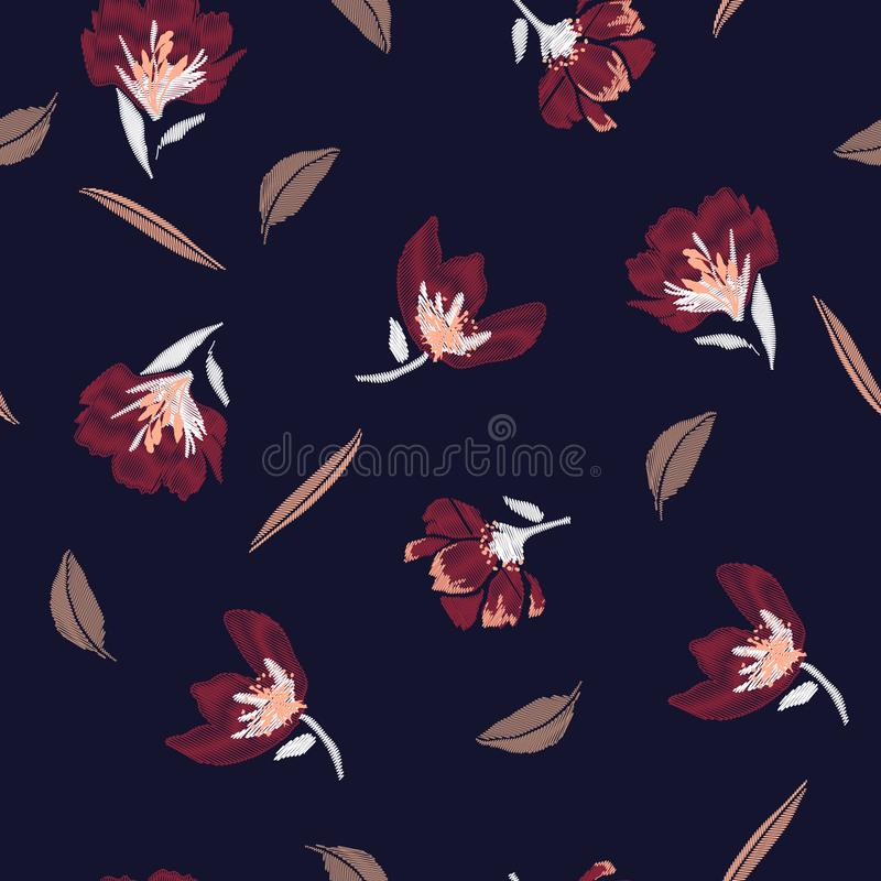 Classic and beautiful Embroidery flowers, spring seamless patter vector illustration
