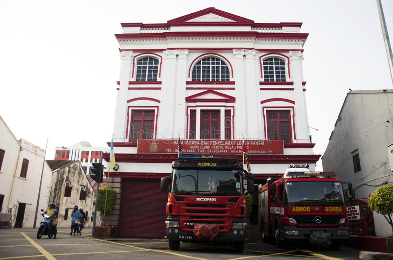 Classic Beautiful Office Building Fire Station for traveller visit at George Town stock images