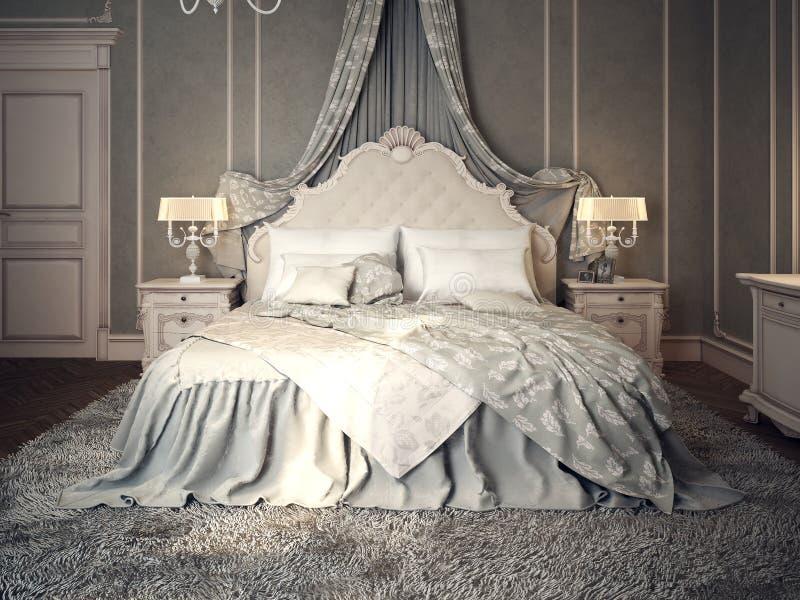 Classic bedroom interior royalty free illustration