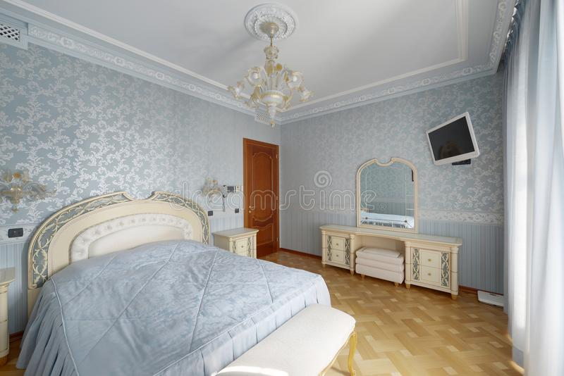 Classic bedroom interior in modern house. Stylish bedroom interior with double bed.n royalty free stock images