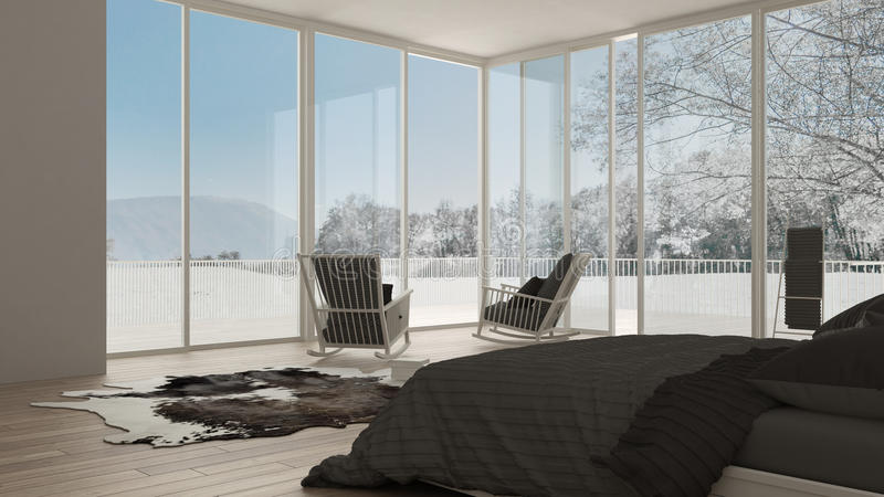Classic bedroom, minimalistic white interior design, big windows. With winter landscape, hotel, spa, resort stock illustration