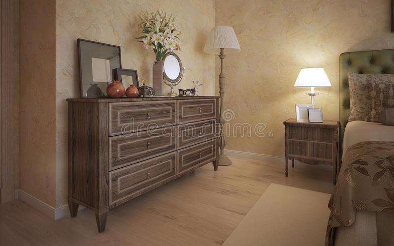 Classic bedroom with oak furniture vector illustration