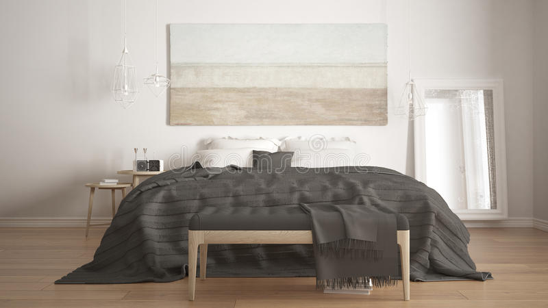 Classic bedroom, scandinavian modern style, minimalistic interior design, close-up royalty free stock photography