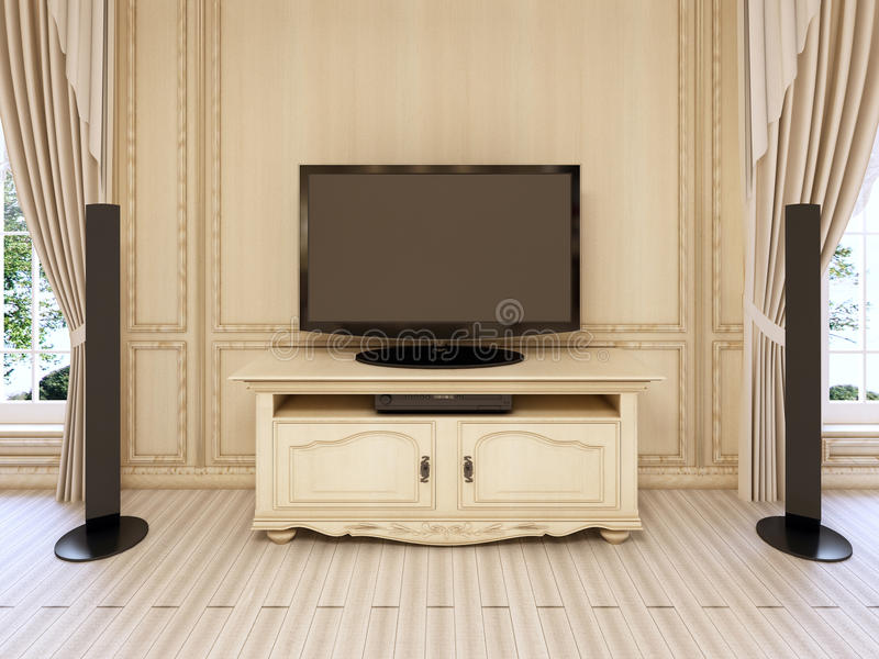Classic Bedside Table For TV Unit In Luxurious Neo-classical Bed ...