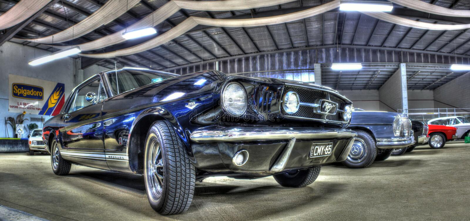Classic black Ford Mustang stock photography