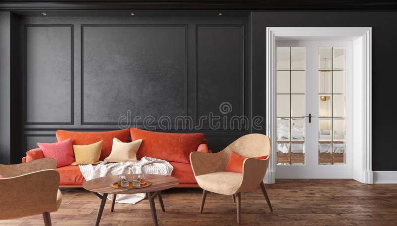 Classic black interior living room with red sofa and armchairs. Illustration mock up. stock illustration