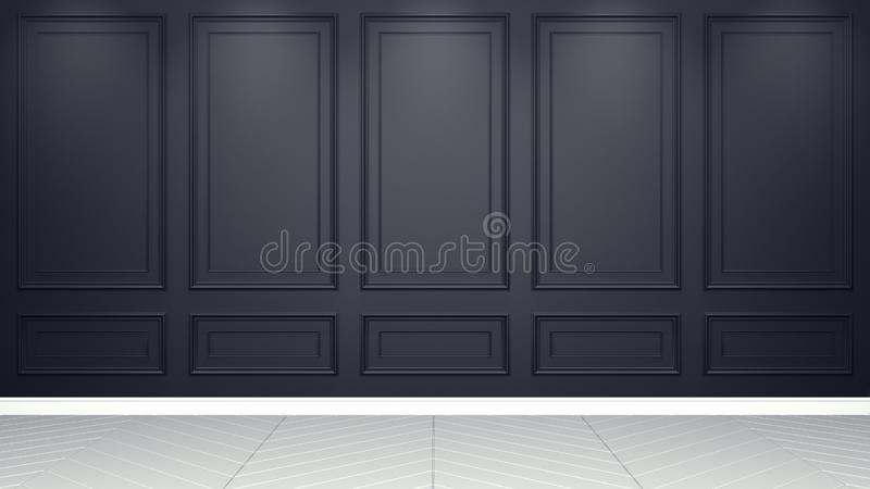 Classic black Interior living studio mock-up 3D rendering. Empty room for your montage vector illustration