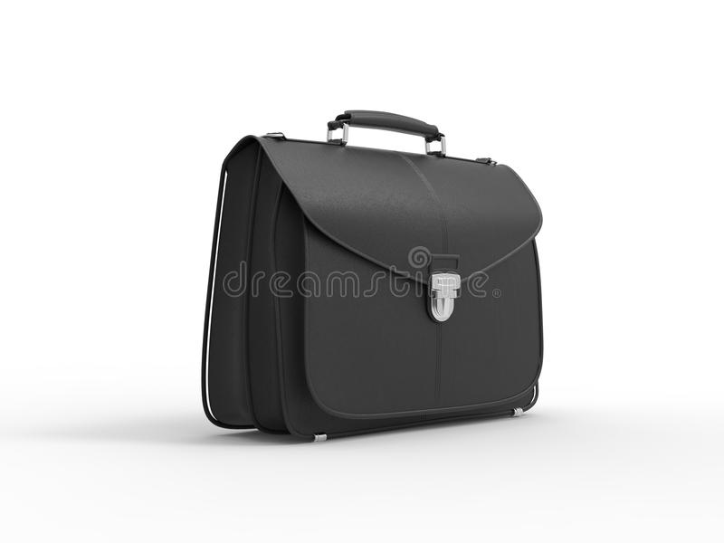 Classic black leather briefcase - side view stock illustration