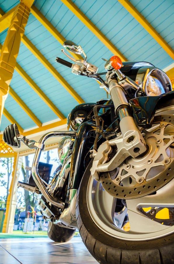 Classic black motorcycle stock photo