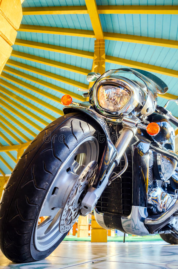 Classic black motorcycle stock photography