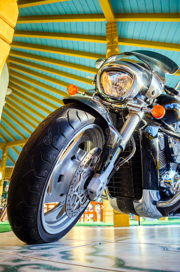 Classic black motorcycle royalty free stock photo