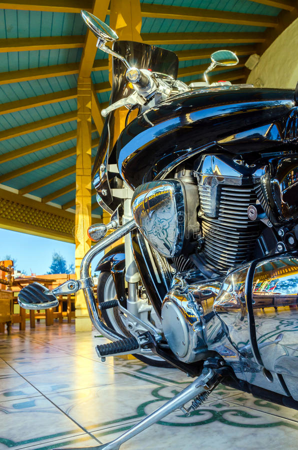 Classic black motorcycle stock images