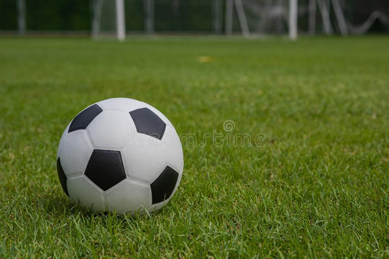 Classic black and white football placed on a grass pitch. royalty free stock photos