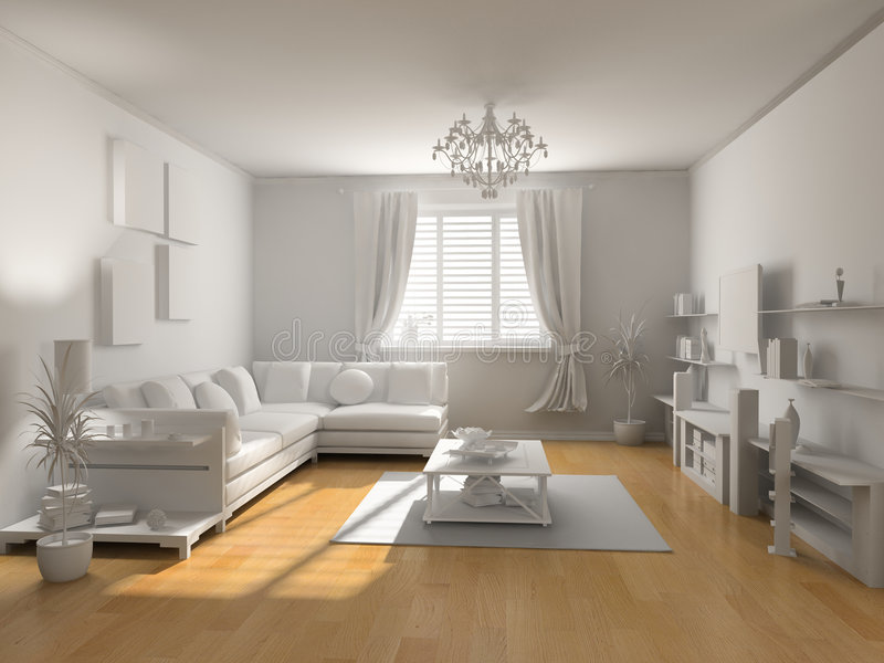 The classic blank interior. With beautiful parquet (3D vector illustration