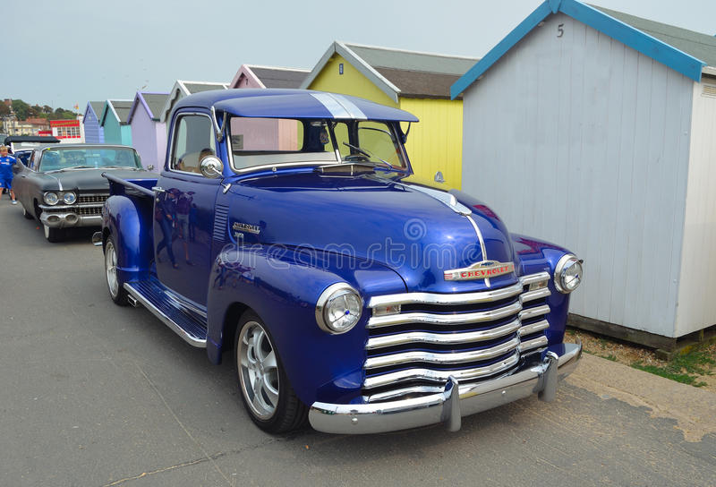 Classic Blue Chevrolet 3100 pickup truck royalty free stock photo