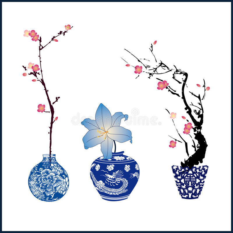 Classic blue china and flower. The plum blossom royalty free illustration