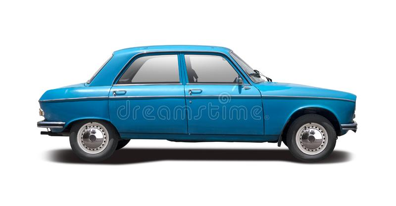 Classic French car Peugeot 204 side view isolated on white stock photos
