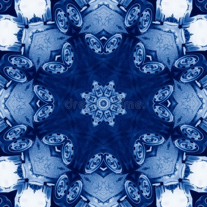 Free Classic Blue Kaleidoscope Geometrical Ornament Abstract Background. Trendy Color Concept Of The Year. 2020 Trend Stock Photos - 166993013