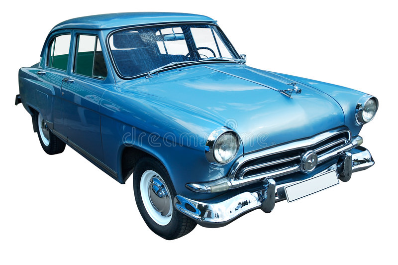 Classic blue retro car isolated royalty free stock photography