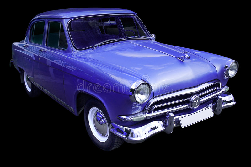 Classic Blue Retro Car Isolated Royalty Free Stock Image