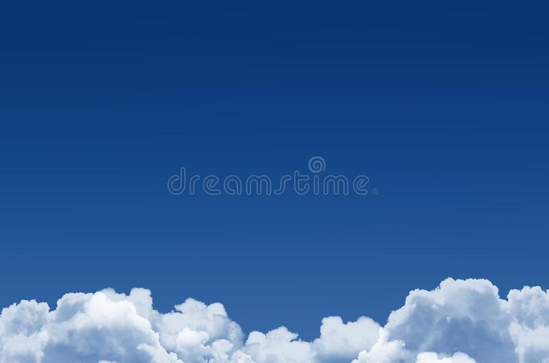 Classic blue sky and fluffy cumulus clouds below, background.  vector illustration