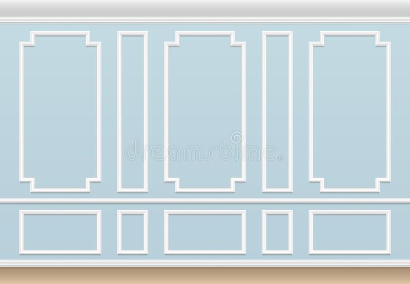 Classic blue wall with moulding panel. House luxury interior with molding frames. Vector background. Wall interior molding, architecture frame panel vector illustration