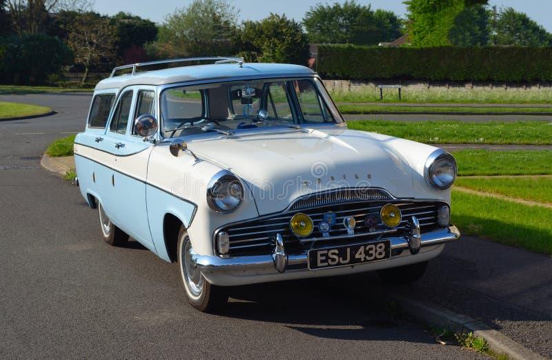 Classic Blue and white Ford Zodiac Estate Motor Car. stock photos