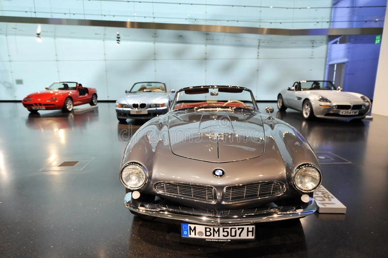 Classic BMW 507 roadster on display in BMW Museum. MUNICH - JUNE 8: Classic BMW 507 roadster on display in BMW Museum on June 8, 2013 in Munich stock images