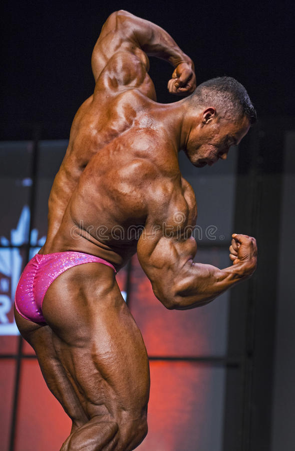 Classic Bodybuilding Pose. Benjamin Parra of Mexico poses during the Men's Bodybuilding 212 division competition of the 2016 IFBB Toronto Pro Supershow in stock photography