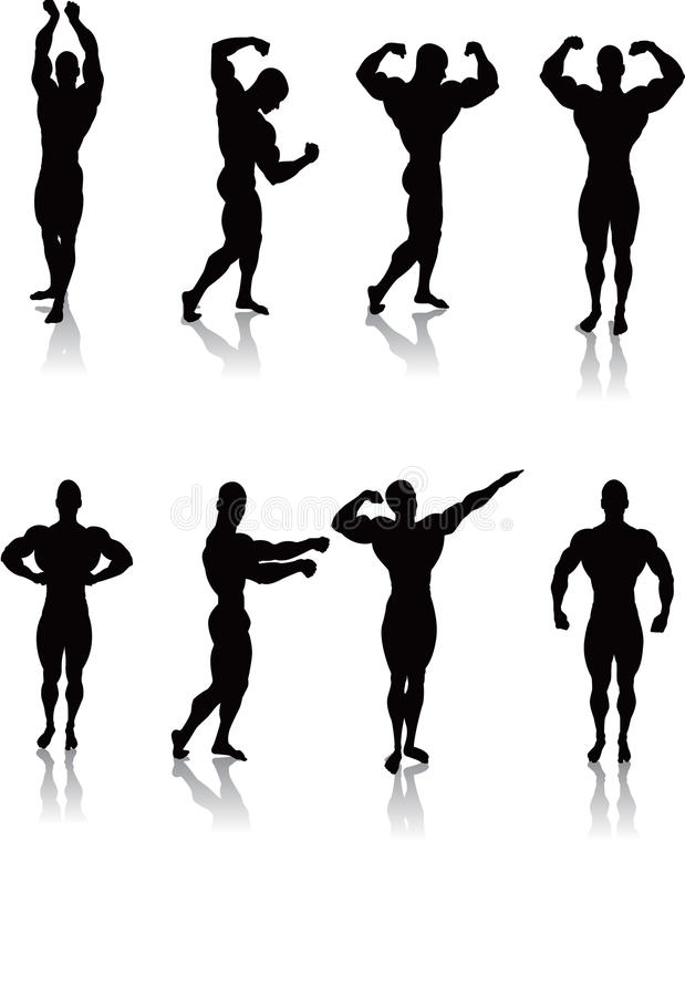 Classic Bodybuilding Poses. Silhouettes of Classic bodybuilding posing vector illustration