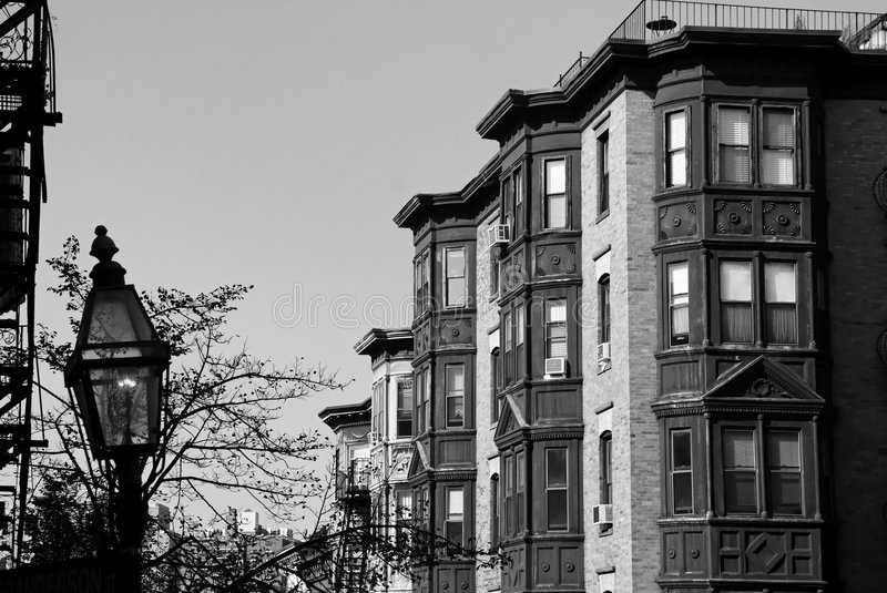 Classic Boston Black and White. Beautiful black and white classic scene of old boston, showing gas lamp and brownstone high rise apartments royalty free stock image