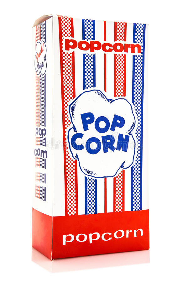 Classic box of red and white popcorn box. Isolated against white background royalty free stock photo