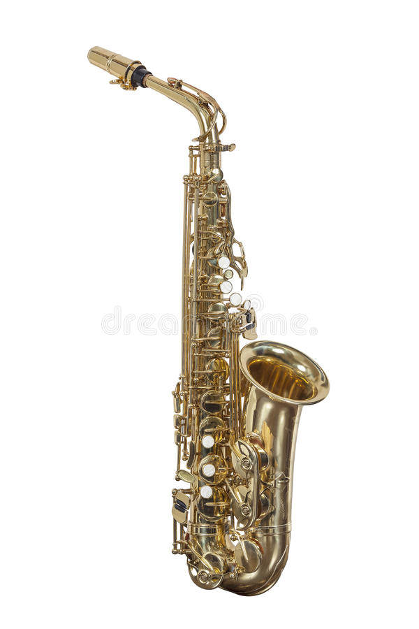 Classic brass musical instrument saxophone Alto isolated on white background stock photography