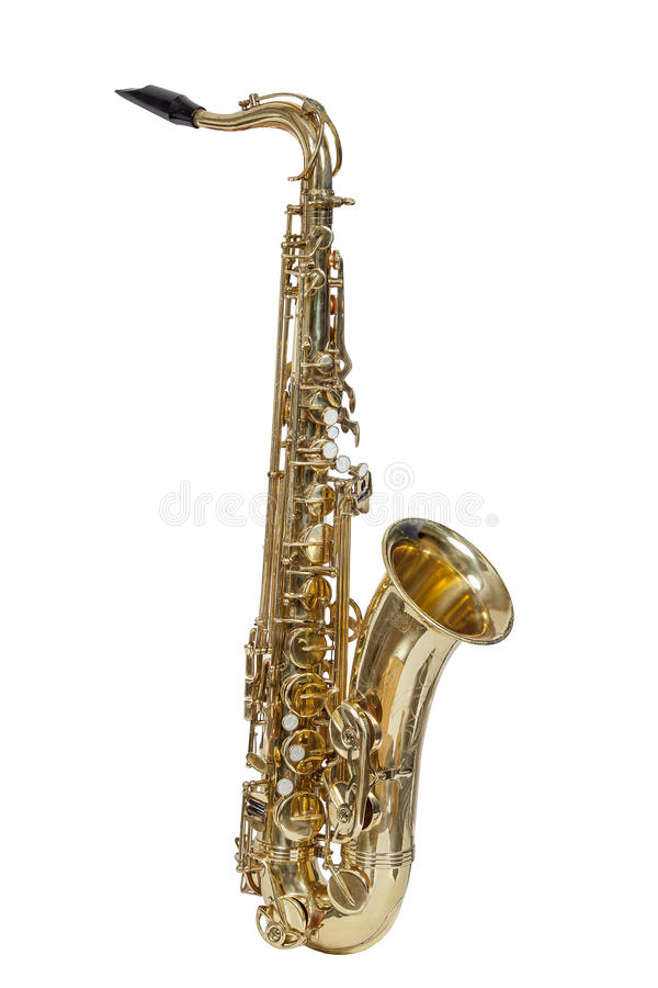 Classic brass musical instrument tenor saxophone isolated on white background. Classical musical wind instrument, tenor saxophone isolated on white background royalty free stock photography