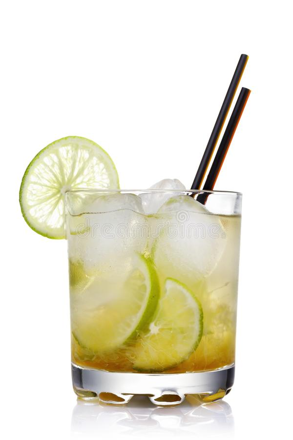 Classic Brazilian cocktail of caipirinha isolated royalty free stock photos
