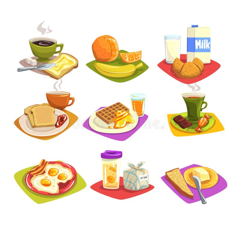 Classic breakfast ideas set. Cartoon illustration with coffee and toast with butter, fruits, milk and croissant, fried. Classic breakfast ideas set. Morning food stock illustration
