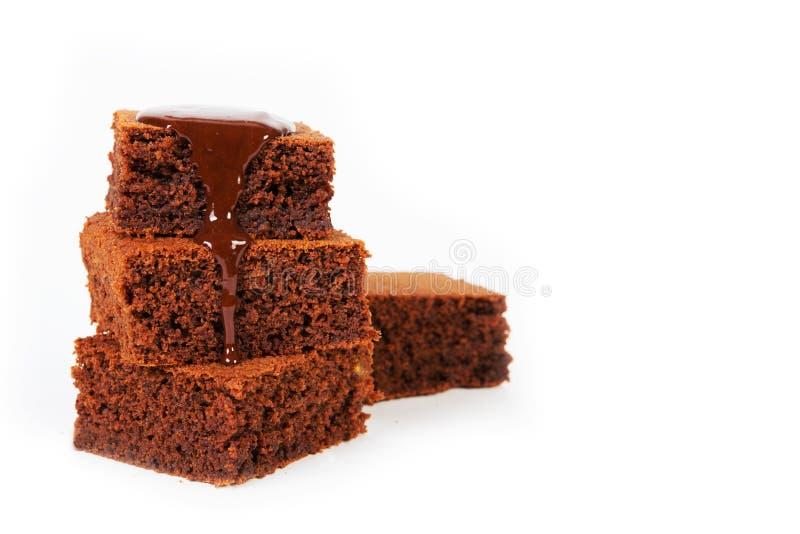 Classic brownie chocolate cake stock photography