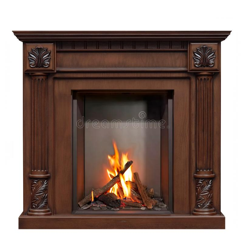 Classic burning gas fireplace isolated on white background royalty free stock photography